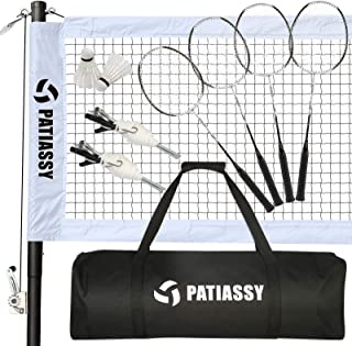Patiassy Professional Badminton Set with 4 Carbon Fiber Rackets and 2 Goose Feather Shuttlecocks Portable Badminton Net Set for Backyard Beach with Winch System and Carrying Bag