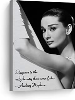 Smile Art Design Audrey Hepburn Quotes with Ballerina Picture Canvas Print Decorative Art Modern Wall Decor Artwork Living Room Bedroom Wall Art Ready to Hang Made in The USA 12x8