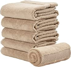 iDesign Spa Hand Towel with Hanging Loop, 100% Cotton Soft Absorbent Machine Washable Towel for Bathroom, Shower, Tub - Set of 6, Linen