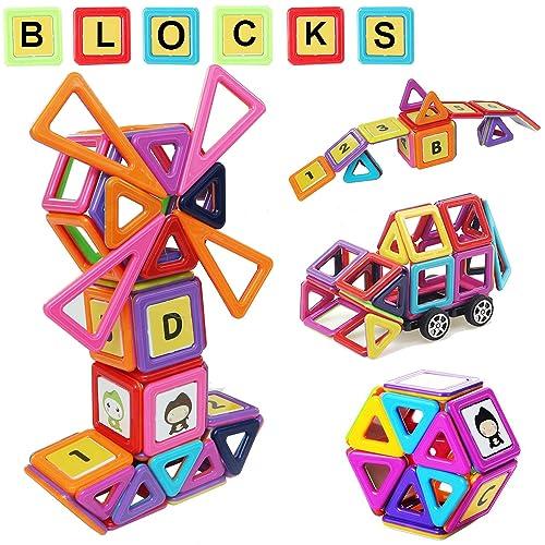 MOVEONSTEP Bloques de Construcción Magnéticos Juguetes Educativo y Creativo 80 Piezas Juego Regalo para Niños Cumpleaños