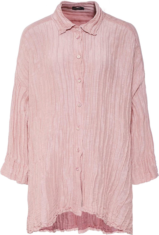 Grizas Mujeres Lino y Mezcla de Seda Arrugado Camisa Rosa M ...