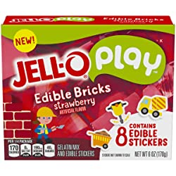 JELL-O Play Edible Strawberry Bricks Gelatin Dessert Kit (6 oz Box)