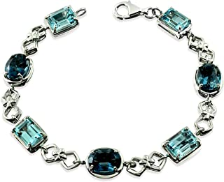 """RB Gems Sterling Silver 925 Tennis Bracelet GENUINE GEMS Oval 9X7 mm, 14.7 Cts Rhodium-Plated Finish, 7"""""""