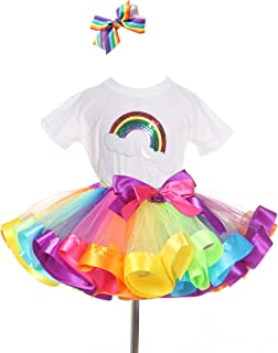 TRADERPLUS Rainbow T-Shirt Ballet Tutu Skirt Hair Bows Set Baby Girls