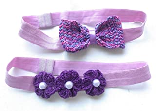 Hairbands For Babies and Girls Set of 2 Handmade Crochet Flowers And Bow Set By Craftbot