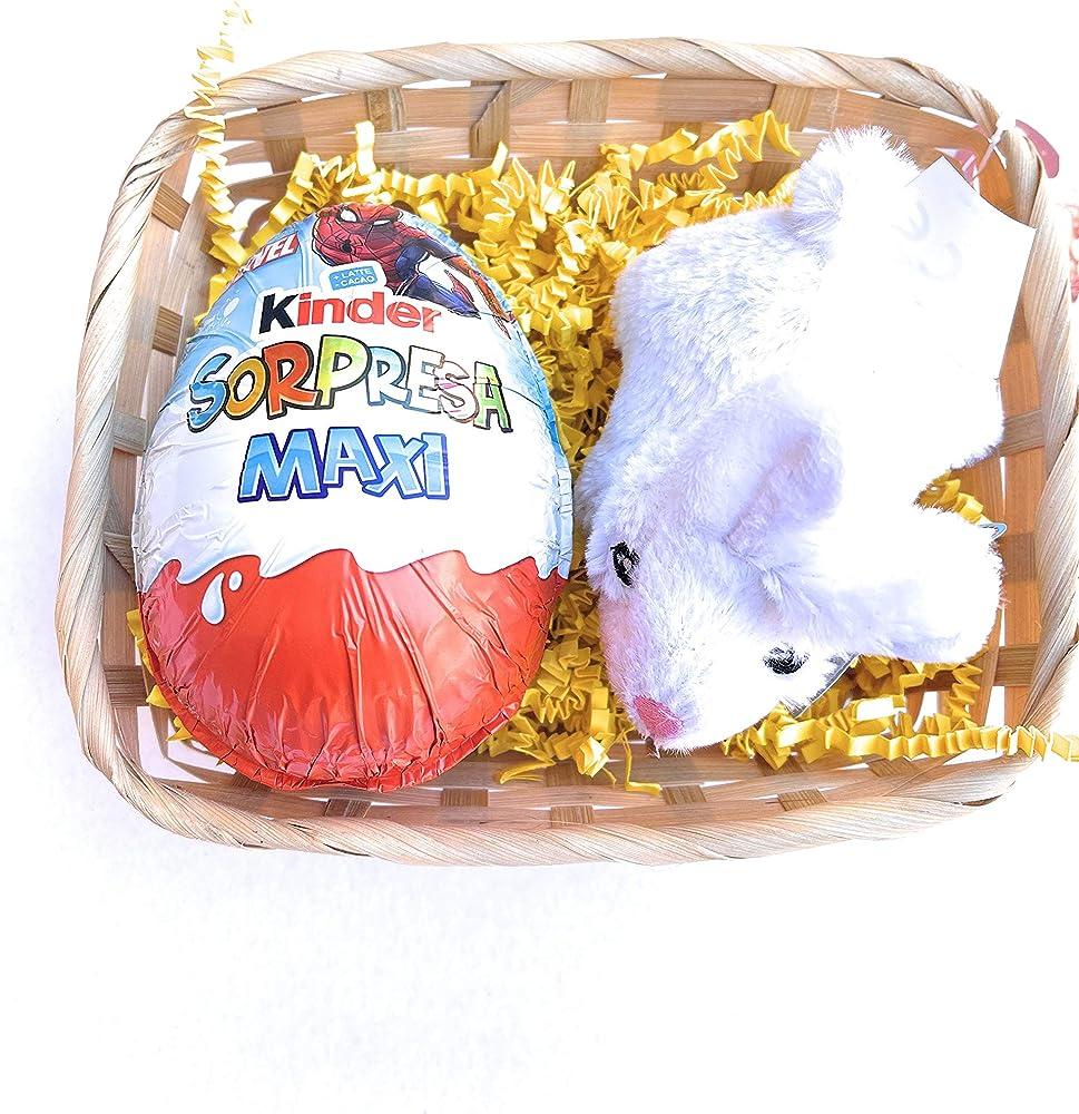 Uovo di pasqua kinder consorpresa maxi gr 100,piu` peluche coniglietto bianco (spider-man)