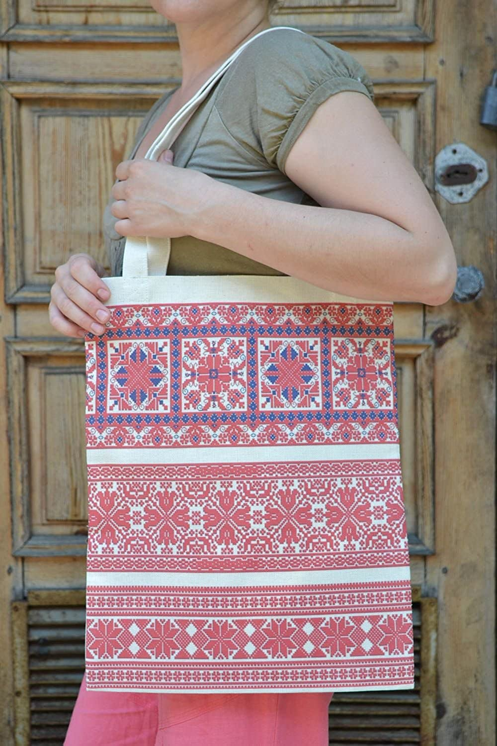Female Big Handmade Bag Made Of Fabric In Eco Style With Ethnic Painting
