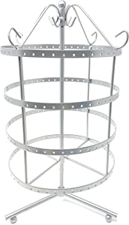 4 Tiers Antique Silver Rotating 92 pairs Earring Holder ~Necklace Organizer Stand ~ Jewelry Stand Display Rack Towers