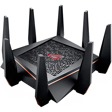 ASUS ROG Rapture WiFi Gaming Router (GT-AC5300) - Tri Band Gigabit Wireless Router, Quad-Core CPU, WTFast Game Accelerator, 8 GB Ports, AiMesh Compatible, Included Lifetime Internet Security