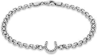 Tuscany 纯银镀铑方晶锆石马蹄形双ismarck 手链