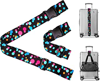 Bubbly Color Dots Travel Luggage Strap Suitcase Security Belt. Heavy Duty & Adjustable. Must Have Travel Accessories. TSA Compliant. 1 Luggage Strap & 1 Add A Bag Strap. 2-Piece Set.
