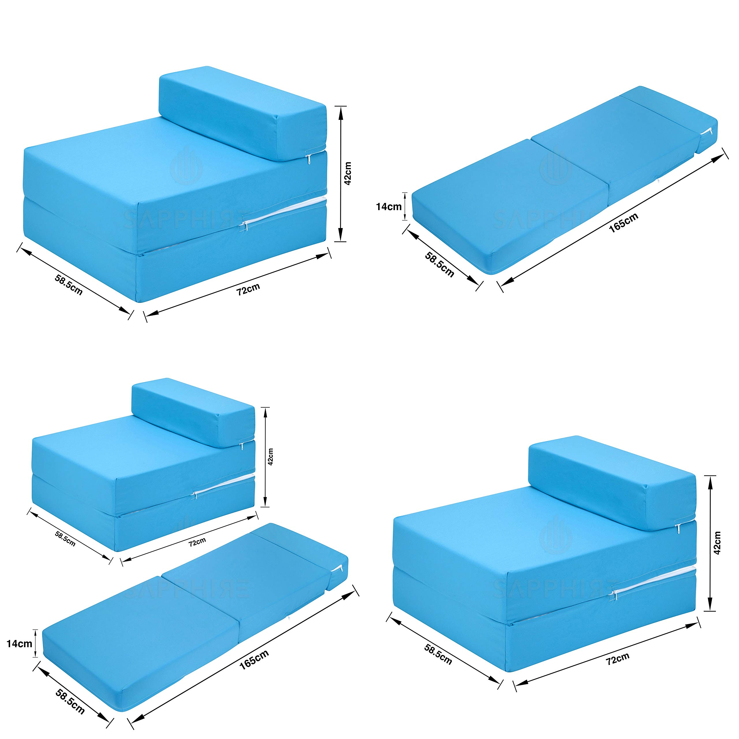 inspire Fold Out Single Guest Z Bed Chair Folding Mattress Sofa Bed Futon  Chair Bed - TURQUOISE