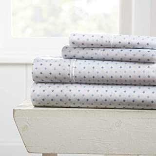 Simply Soft Premium Lily Pattern 4 Piece Bed Sheet Set, Queen, Navy