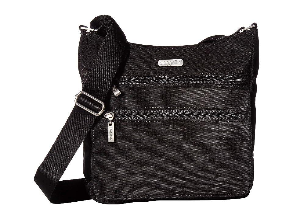 Baggallini Legacy Top Zip Flap Crossbody with RFID Wristlet (Black/Sand) Cross Body Handbags