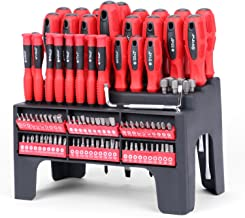 HORUSDY 100-Piece Magnetic Screwdriver Set with Plastic Racking, Best Tools for Men Tools Gift