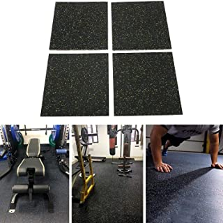 Nisorpa 4pcs Rubber Gym Flooring Tiles Interlocking Heavy Duty Gym Mats with buckles 25mm Thick Exercise protective Floori...
