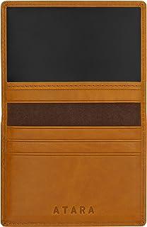 comprar comparacion Tarjetero Plegable de Atara: Cuero auténtico, 4 Bolsillos + 1 Bolsillo con Ventana y con tecnología antirrobo RFID, Naranja
