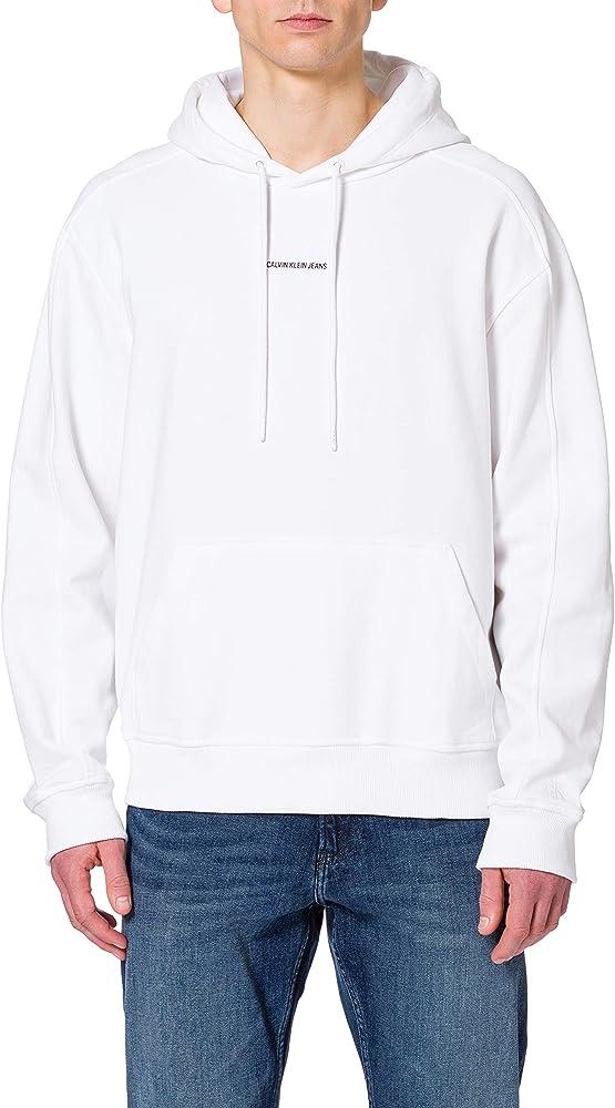 Calvin klein branding hoodie felpa con cappuccio per uomo 100% cotone J30J317388