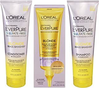 L'Oreal EverPure Brass Banisher System, Blonde, Shampoo & Conditioner, 8.5 Ounce Each + Shade Reviving Treatment 4.2 Ounce by L'Oreal Paris