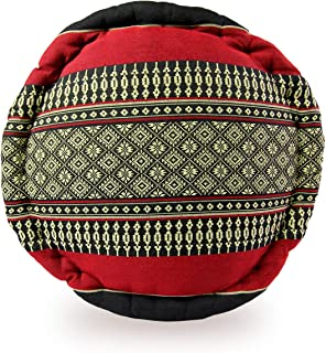 Avran Kapok Floor Pouf Style Zafu Pillow for Meditation and Yoga, 13 Inch Black and Red with Classic Thai Pattern
