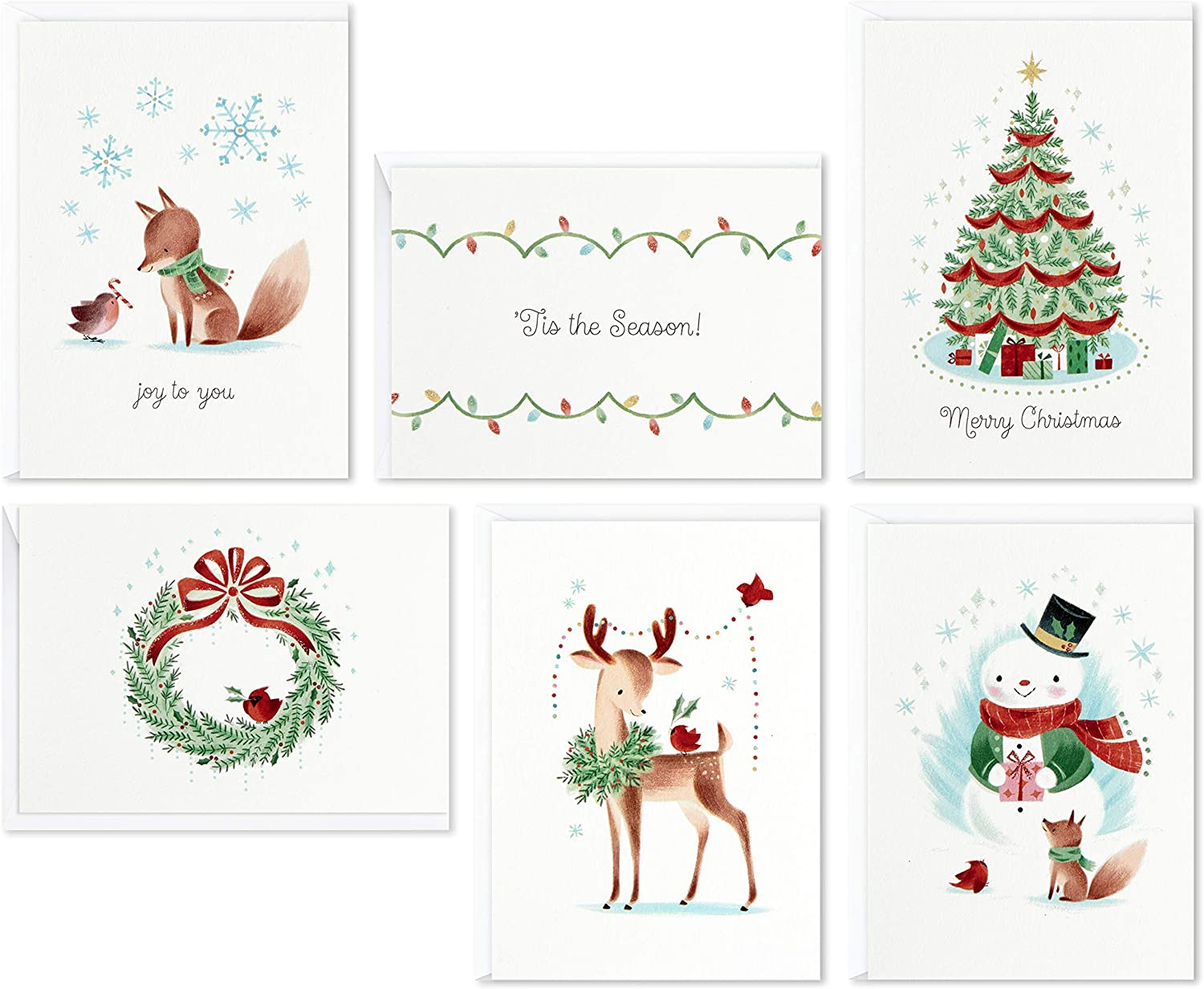 Amazon Com Hallmark Assorted Boxed Christmas Cards Vintage Holidays 48 Cards With Envelopes Everything Else