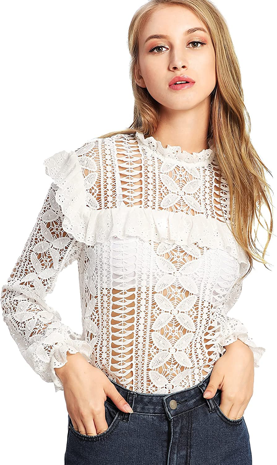 DIDK Women's Floral Lace Cut Out Frilled Detail Sheer Blouse