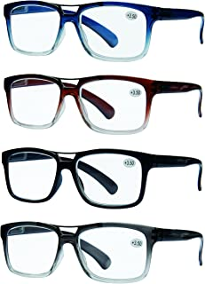 READING GLASSES 4 Pack Unisex Best Value Top Bar Style Quality Men and Womens Glasses for Reading