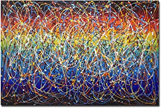 AMEI Art Paintings,32x48inch 100% Hand-Painted Rainbow Colors Oil Paintings on Canvas Colorful Abstract Artwork Home Decor Wall Art Wood Inside Framed Ready to Hang for Living Room Office