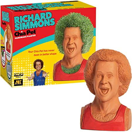 Chia Pet Richard Simmons with Seed Pack, Decorative Pottery Planter, Easy to Do and Fun to Grow, Novelty Gift, Perfect for Any Occasion