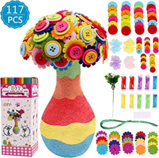 DigHealth DIYVase with FlowersCraftKit forKids, Make Your Own Flower BouquetbyButtons and Fabric, Crafts and Art Set...