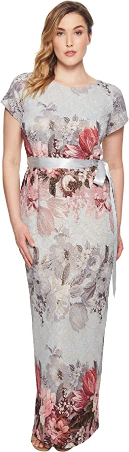 Adrianna Papell - Plus Size Short Sleeve Long Multi Floral Gown