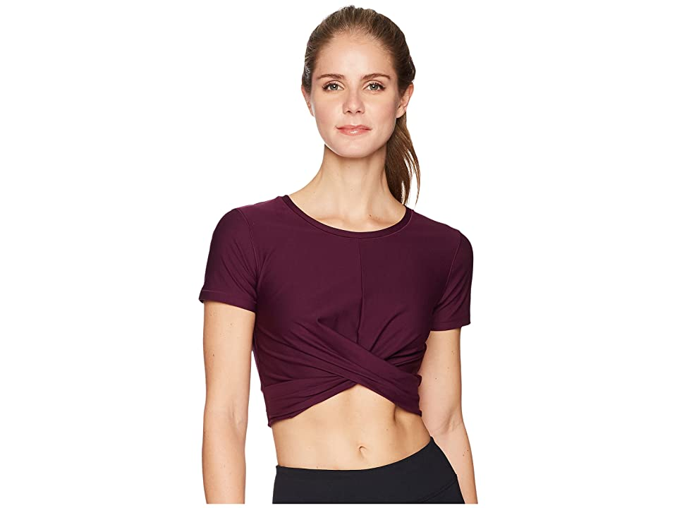 Under Armour Lightweight Lux Crop Tee (Merlot/Metallic Gold) Women
