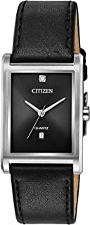Citizen Women's Stainless Steel Quartz Watch with Leather Calfskin Strap, Two Tone, 20 (Model: BH3001-14H)