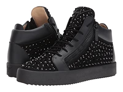 Giuseppe Zanotti May London Mid Top Studded Sneaker (Black) Men