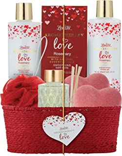 Spa Gift Basket for Women & Girls, Best Gift Idea for Christmas, Mother's Day, Valentines and Birthday, Rosemary Bath and Body-Shower Gel, Bubble Bath, Oil Diffuser, Bath Bombs, Bath Salt-Bath Puff