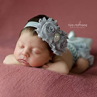 Newborn Girl Photography Outfit Headband with Ruffle Diaper Cover