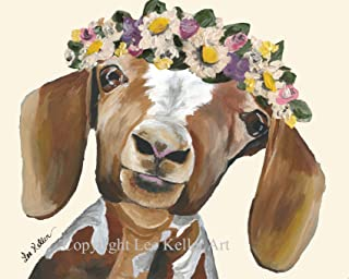Goat art Print, Millie' Cute goat with flower crown