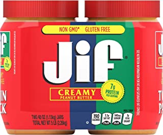 Jif Creamy Peanut Butter, 40 Ounces (Pack of 2), 7g (7% DV) of Protein per Serving, Smooth, Creamy Texture, No Stir Peanut...