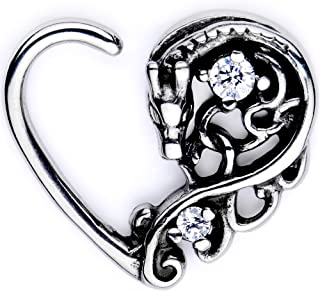 Body Candy Body Piercing Jewelry Stainless Steel 16G Closure Daith Cartilage Dragon Heart Tragus Earring
