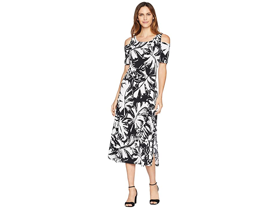 American Rose Thalia Cold Shoulder Maxi Dress with Side Slit (Black/White) Women