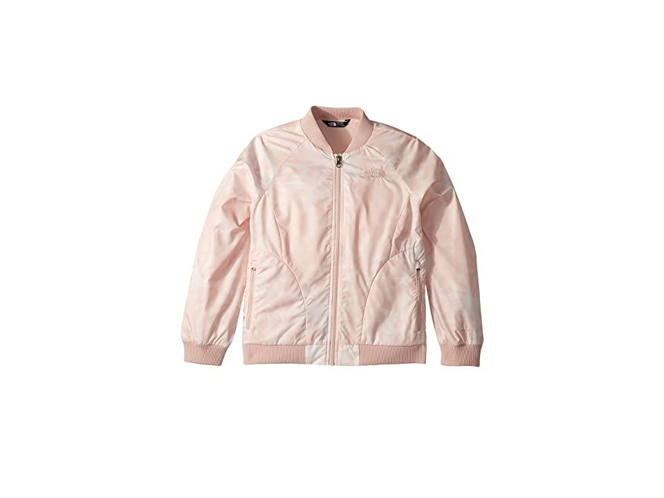 The North Face Kids Flurry Wind Bomber Jacket (Little Kids/Big Kids) (Evening Sand Pink Lupine Print/TNF White) Girl