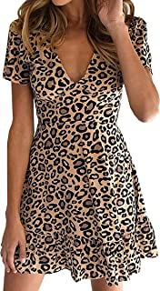 Womens Deep V Neck Floral Leopard Dress Short Sleeve Sexy Ruffles Fashion Mini Dress