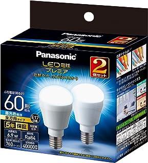 パナソニック LED電球 プレミア 口金直径17mm 電球60W形相当 昼光色相当(6.9W) 小型電球・全方向タイプ 2個入り 密閉形器具対応 LDA7DGE17Z60ESW22T