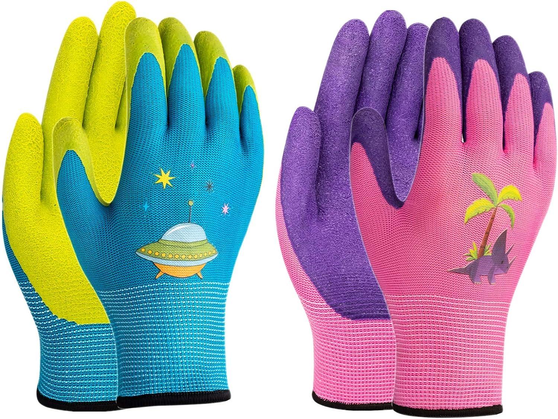XJYAMUS Max 45% OFF lowest price 4- Pair Pack Kids Glo Gloves Gardening Work