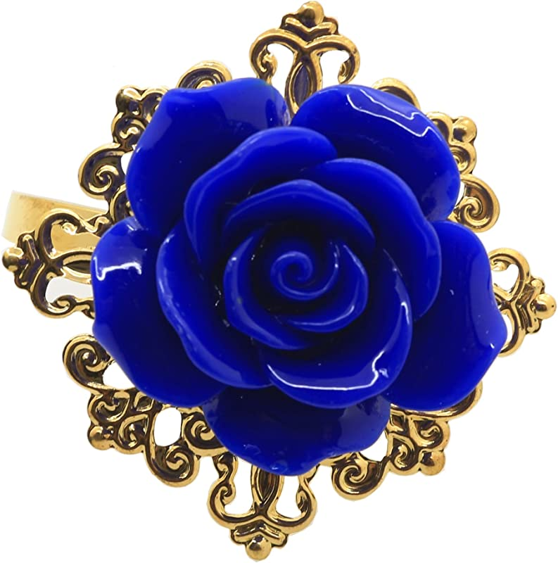 Lkeran Leader Of Sales 10pcs Lot Resin Royal Blue Color Roses Napkin Rings Gold Napkin Rings For Romantic Wedding Party Table Decoration
