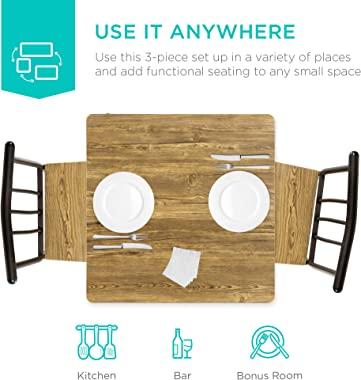 Best Choice Products 3-Piece Dining Set Modern Dining Table Set, Metal and Wood Square Dining Table for Kitchen, Dining Room,