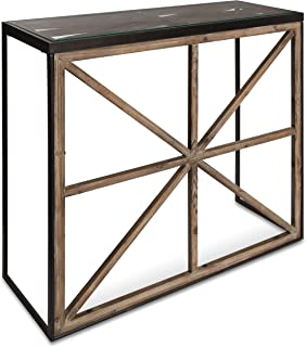 Kate and Laurel Mace Modern Farmhouse Console Table with Glass Top, Black Metal Frame and Rustic Brown Wood Criss-Cross Barn Door Accents