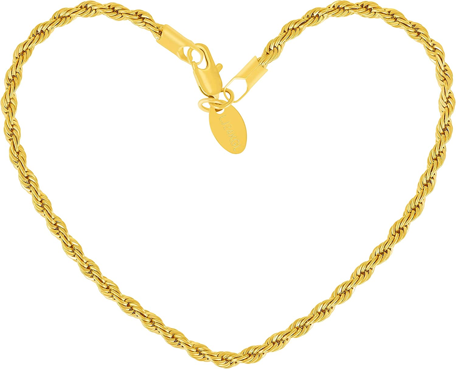 LIFETIME JEWELRY 3mm Rope Oklahoma Austin Mall City Mall Chain Bracelet fo Real Plated 24k Gold