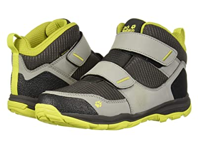Jack Wolfskin Kids Mountain Attack 3 Texapore Mid VC (Toddler/Little Kid/Big Kid) (Dark Grey/Lime) Boys Shoes