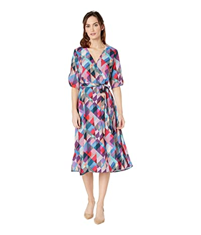 B Collection by Bobeau Emory Wrap Dress (Navy Geo) Women